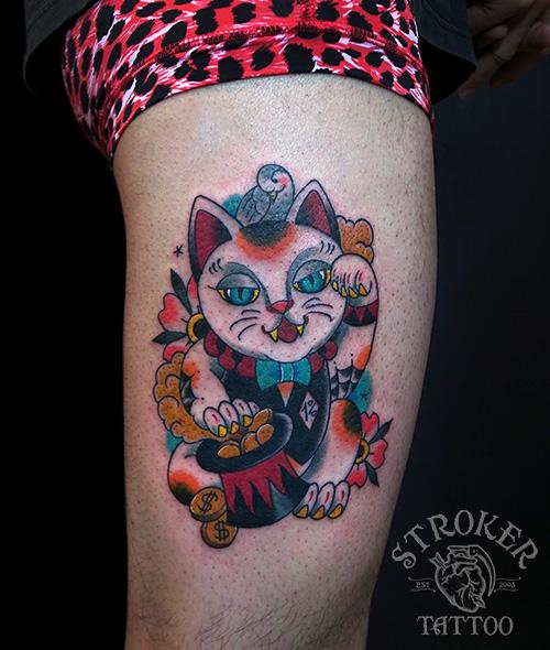 招き猫、1パーセンターのタトゥーtattoo