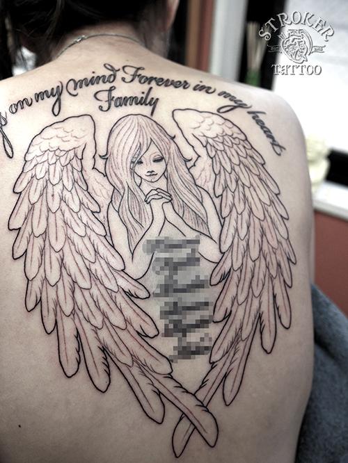 天使 羽根 女性 タトゥー