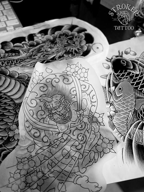 下絵 和彫り 龍 鯉 風神