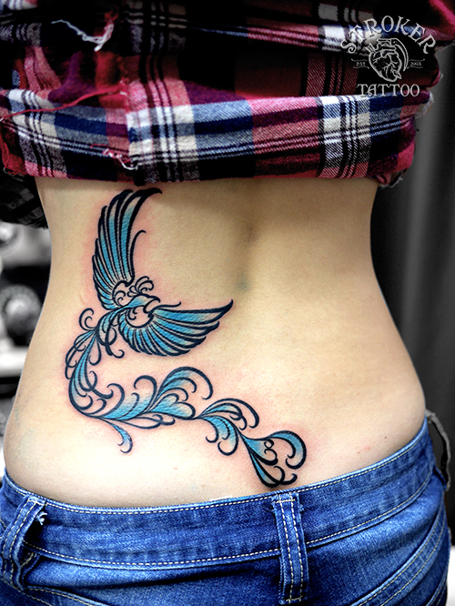 phoenix girl tribal blue tattoo