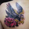 イーグル 薔薇 トラディショナル タトゥー