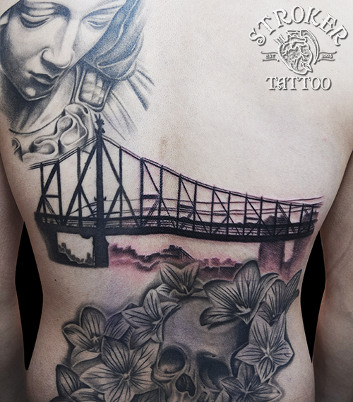 橋 タトゥー ニューヨーク ブラック&グレー