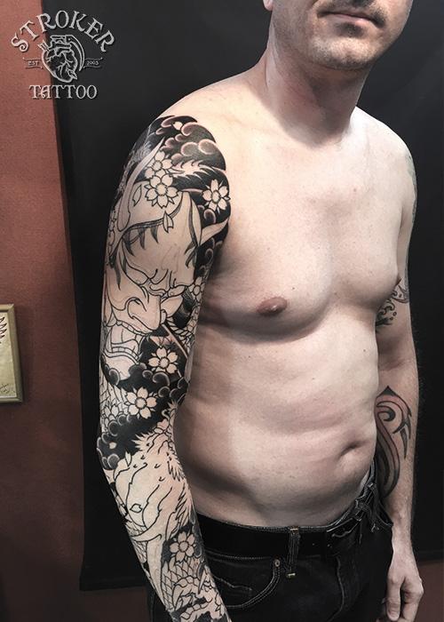 般若と龍、和彫り刺青