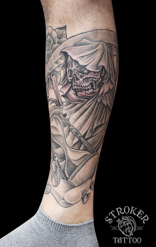 死神 砂時計 子供の天使 タトゥー