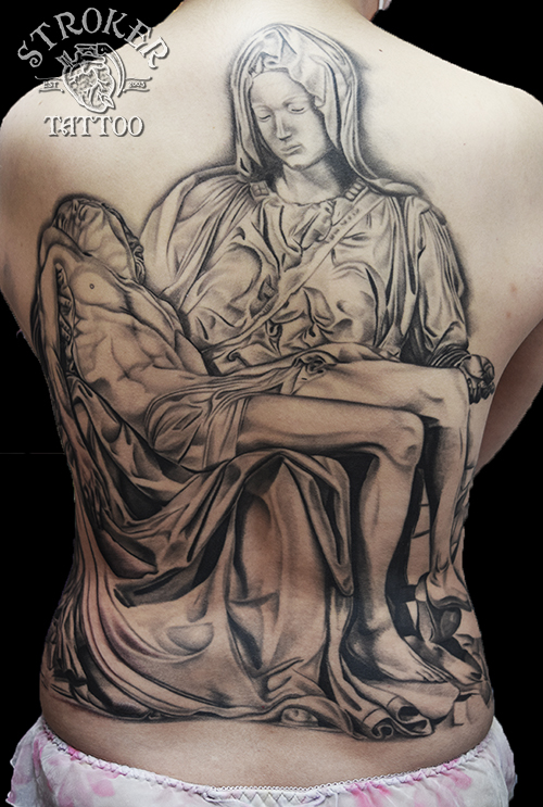 ピエタ キリスト マリア 銅像 タトゥー tattoo 背中