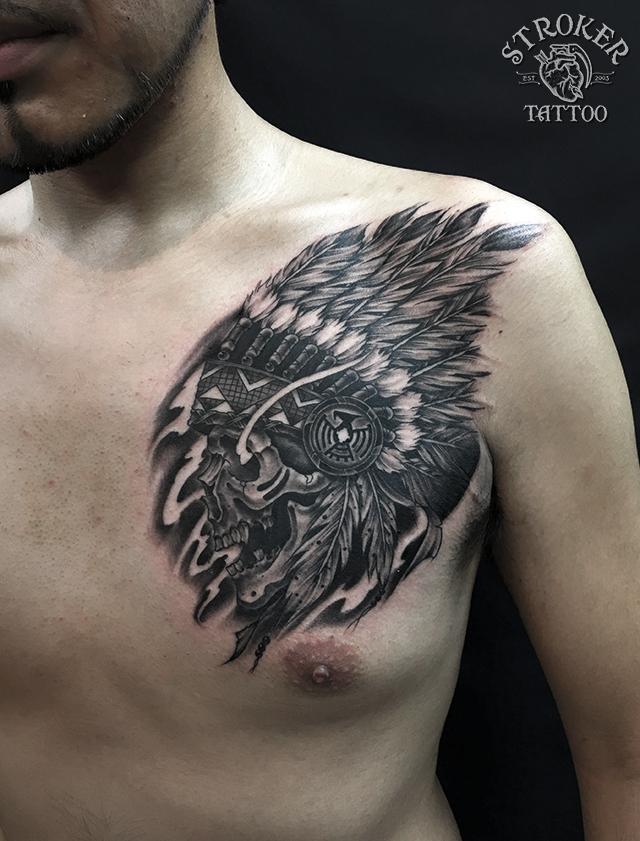 indian skull,skull chief,tattoo