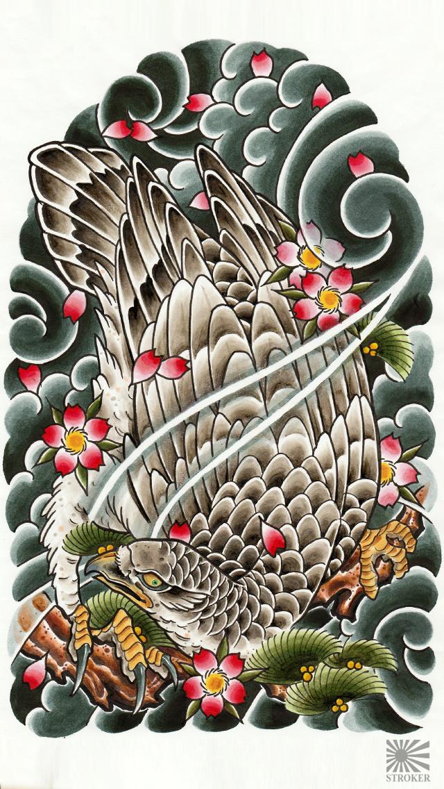彫師KAN/壁紙/鷹/和彫り