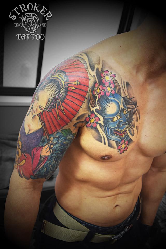 花魁 般若 カラー 胸割 五分袖 タトゥー 和彫り