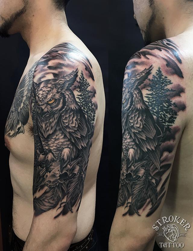 インディアンスカル、フクロウ、タトゥー、刺青