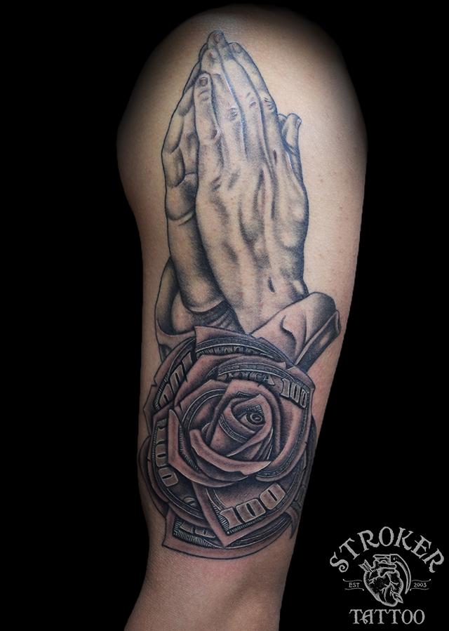 ドル 薔薇 祈り 手 ブラック グレー タトゥー