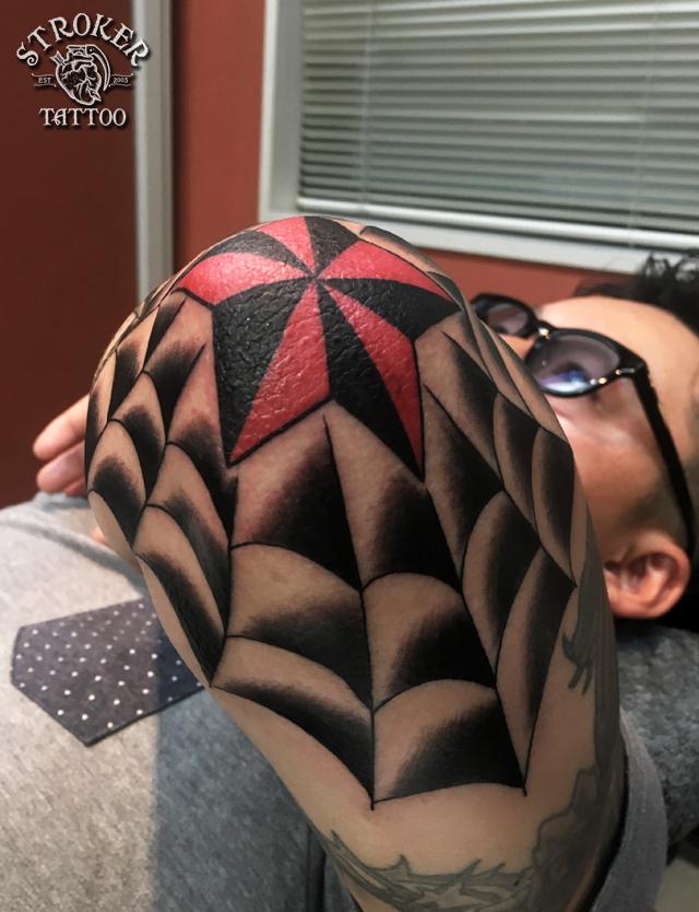 spider web tattooin elbow