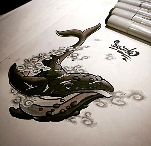 クジラ タトゥーデザイン