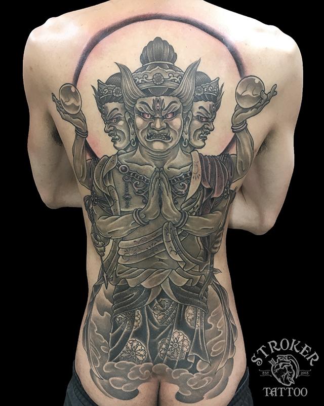 阿修羅、刺青、背中