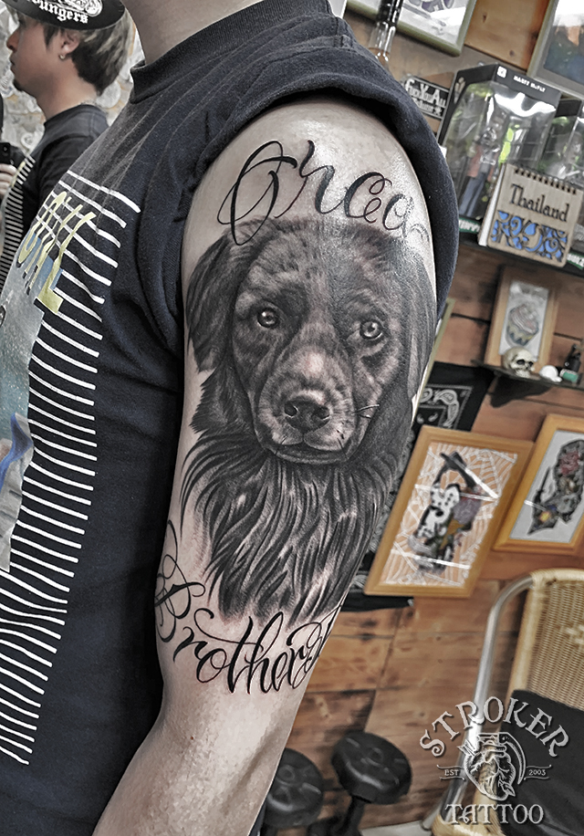 犬 ポートレート タトゥー 愛犬 リアルスティック