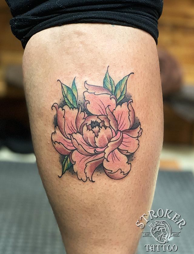 芍薬 カラー ボタン お花 タトゥー