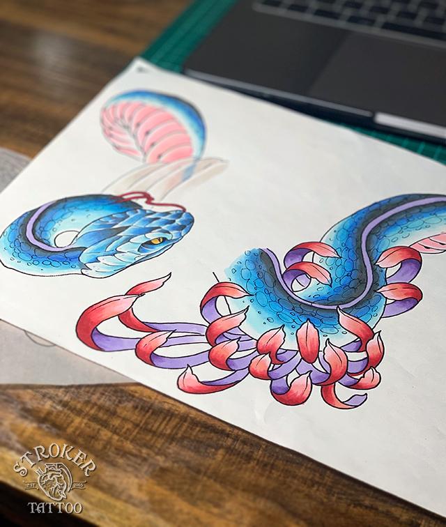 蛇のタトゥー下絵