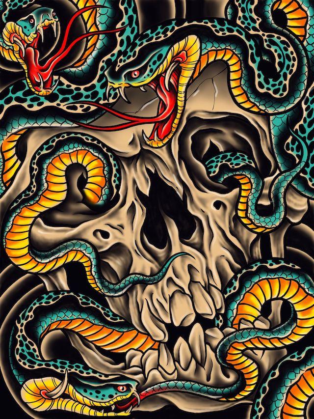 スカルと蛇 art ドクロ タトゥー