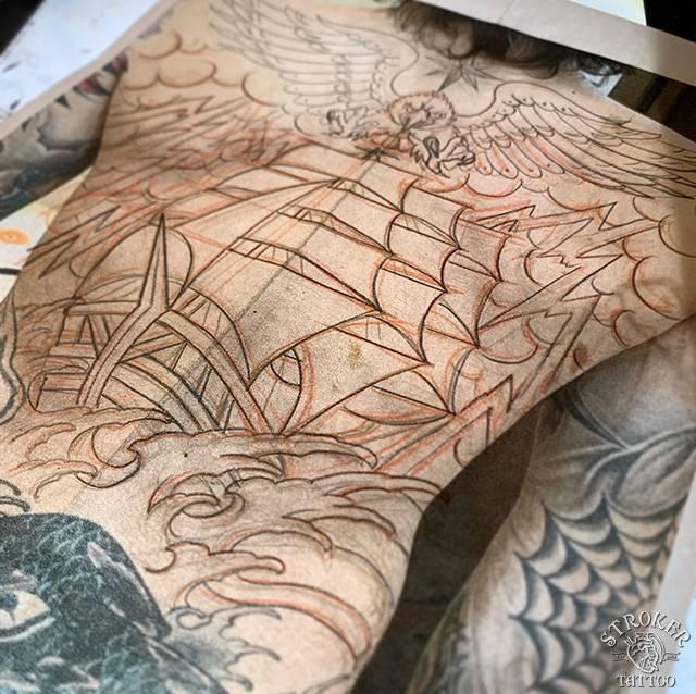 帆船下書き
