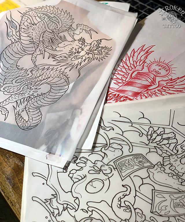 刺青下絵、龍、骸骨