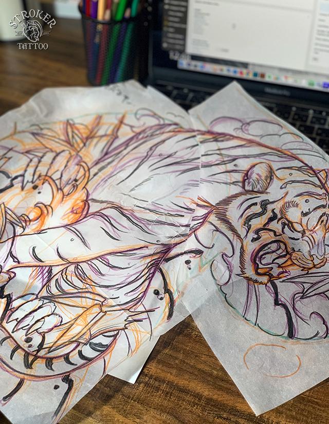 刺青下絵、虎
