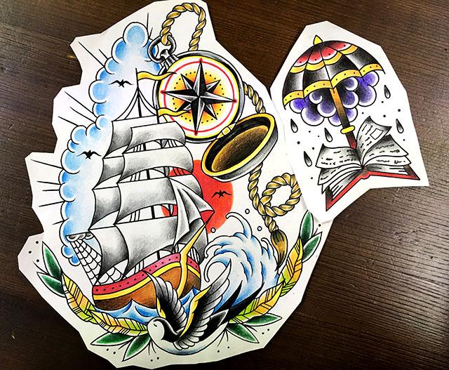 傘と本の下絵、船とコンパスの下絵