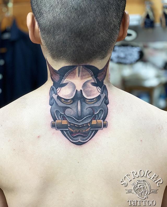 般若 和彫り カラー 首 タトゥー 刺青