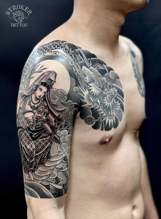 騎龍観音、和彫り、袖五分、刺青、横