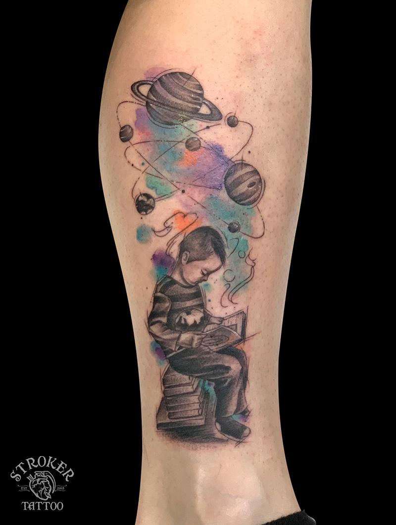 惑星の水彩タトゥー