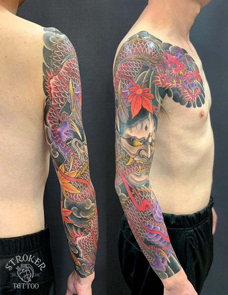 龍と般若袖九分 和彫りフルスリーブ Stroker Tattoo