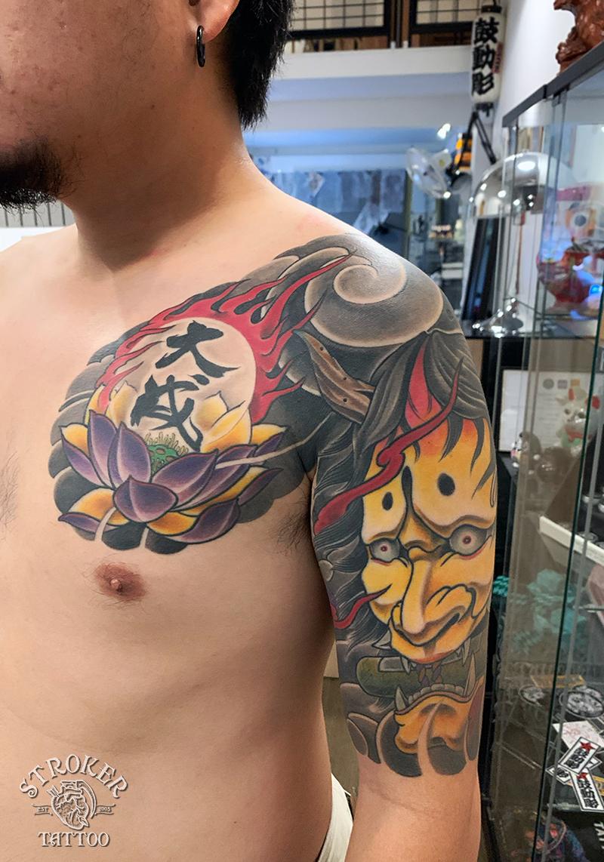 般若と蓮の和彫タトゥー