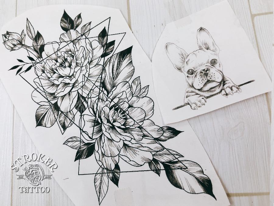 花とフレンチブルドッグ