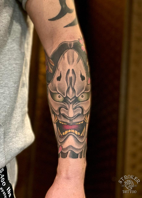 般若タトゥー前腕和彫り1